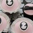 Pink and Black cupcakes, Cameo cupcakes, wedding cupcakes london, vintage wedding cupcakes