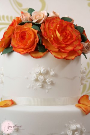 Autumn Wedding cake, Orange and White wedding cakes