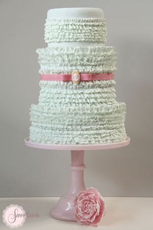 Ruffle Wedding Cake, Cake Designer London
