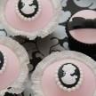 Pink and Black cupcakes, Cameo cupcakes, wedding cupcakes london, vintage wedding cupcakes