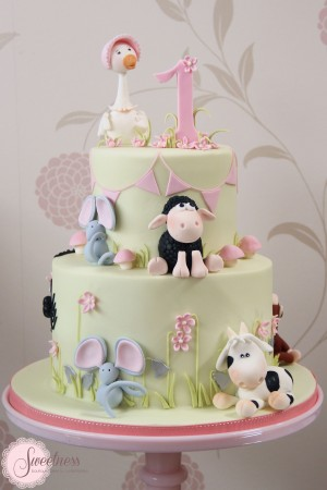 Nursery Rhyme cake, Children's cakes london, 1st birthday cakes london, mother goose cake, baby shower cakes london